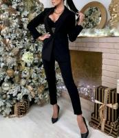 Классический костюм пиджак и брюки Черный M116