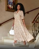 Платье миди в горох каппучино O114
