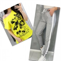 Костюм желтая футболка SIZE Plus FLWERS с брюками серыми IN