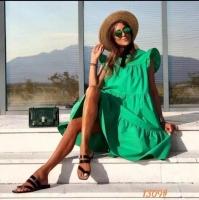 Платье ярусное с крылышками рукав зеленое O114