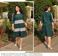 Платье Size Plus вельвет с серыми вставками спереди зеленое M29