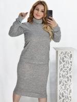 Костюм двойка юбка и кофта ангора софт серый KH