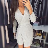 Блестящее платье на запах жемчужный люрекс O114