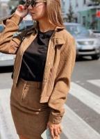 Костюм юбка вельвет и жакет песочный K115
