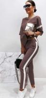 Костюм BigSize с кармашком на груди шоколад KH110