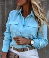 Блузка два кармашка голубая Z109
