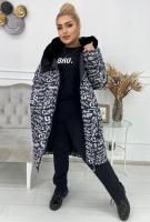 Болоневое пальто с меховым воротом черное буквы KSU