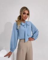 Блузка с галстучком голубая A133