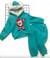 Детский утепленный костюм с ушками хайп дед мороз бирюза Xi