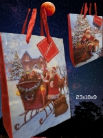 Пакет бумажный подарочный новогодний 23х18х9