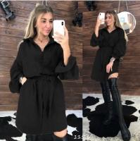 Туника-платье вельвет с поясом черное O114