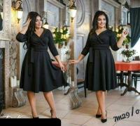Платье Size Plus на запах черное M29