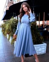 Платье лайт миди с поясом голубое M116