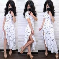 Платье софт в горошек асимметрия белое RX1