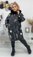 Болоневое пальто с меховым воротом черное CHAOS KSU