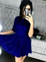Платье люрекс песок синее A116