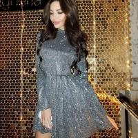 Платье стойка люрекс песок серебро O114