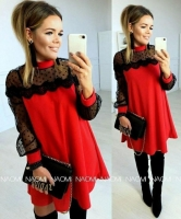 Платье SIZE PLUS лайт рукава гипюр красное A133