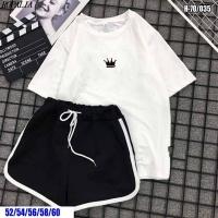Шорты и футболка SIZE plus с короной белая SV