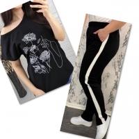 Костюм черная футболка SIZE Plus женский образ и цветы с черными брюками IN