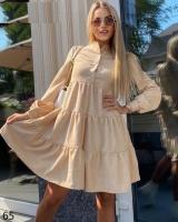 Платье вельвет колокольчик с пуговками бежевое X118
