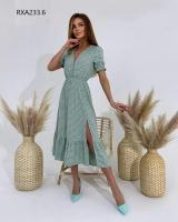 Платье софт в горошек фисташка RXA233.6