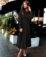 Платье лайт миди с поясом черное M116
