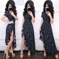 Платье софт в горошек асимметрия черное RX1