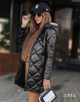 Болоневая удлиненная куртка черная A133