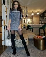 Платье люрекс песок серебро K115