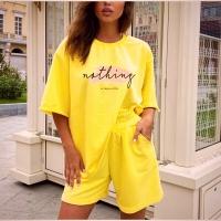 Костюм футболка и шорты OVERSIZE отличного качества турецкая двухнить желтый PRO-SH