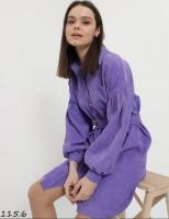 Туника-платье вельвет с поясом сирень O114