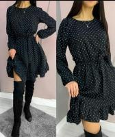 Платье софт с поясом низ волан в горох черное A116