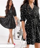Платье софт в горошки черное S111