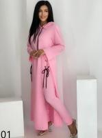 Костюм SIZE PLUS туника и брюки лайт розовый UM29