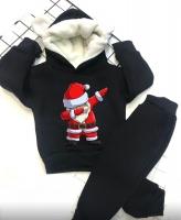 Детский утепленный костюм с ушками хайп дед мороз черный Xi