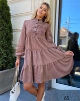 Платье вельвет колокольчик с пуговками пудра X118