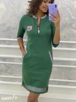 Платье с молнией на груди зеленое M29