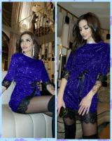 Платье люрекс с пояском гипюр по низу яр-синее A133