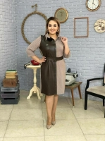 Платье SIZE PLUS плотный драп + экокожа каппучино RH06