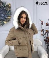 Куртка с мехом на капюшоне и нагрудными карманами каппучино ZI