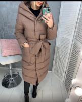 Болоневое пальто с капюшоном и пояском каппучино ZI LE
