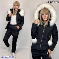 Зимний костюм с черной курткой помпоны SV