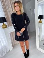 Платье SIZE PLUS креп-люрекс черное UM29