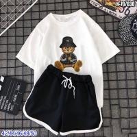 Шорты и футболка Мишка в шляпе белая SV
