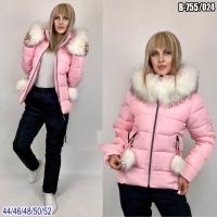 Зимний костюм с розовой курткой помпоны SV