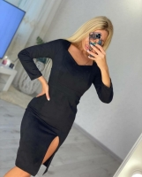 Платье спандекс с разрезом спереди черное O114