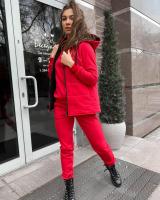 Костюм тройка утепленный жилет толстовка и брюки красный A116