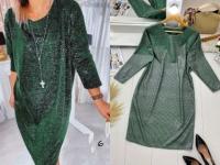 Платье SIZE PLUS люрекс зеленое UM29