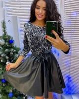 Платье серебряные пайетки верх и низ под кожу пропитка X118